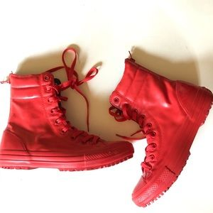 Converse red rubber rain boots high tops